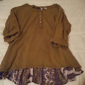 Free people 3/4 sleeve tunic